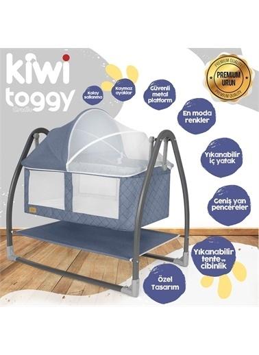 Kiwi Toggy Sallanabilir Metal Platformlu Anne Yanı Portatif Bebek Beşiği Mavi